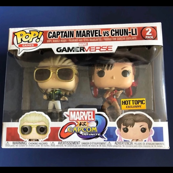 Marvel Gamerverse Captain Marvel Vs Chun-Li New Funko Pop Vinyl